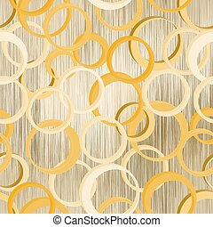 Seamless pattern with 3d rings on grunge striped backdrop in pastel beige, yellow, white colors