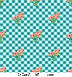 Seamless pattern with a bouquet of roses. Vibrant vintage design.