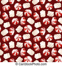 Seamless pattern, with a candy and marshmallows