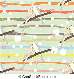 Seamless pattern with a cute couple of birds sitting on branch