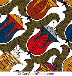 Seamless pattern with a flower in the Egyptian style