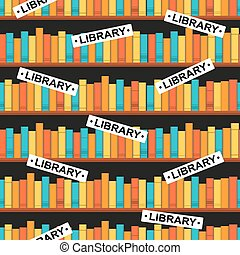 seamless pattern with a library