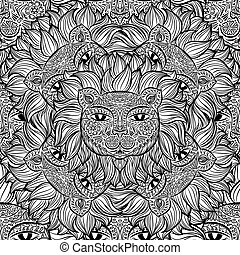 Seamless pattern with a lion heads on a white background. Hand drawn black and white vector pattern.