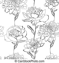 Seamless pattern with a lot of flowers - Black and white...