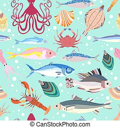 Beautiful collection of sea creatures isolated on light blue background. Seamless pattern with different kind of sea fishes, mollusks, Octopods and Decapods animals with bright coloring.