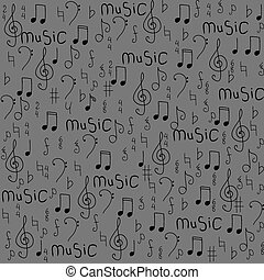 Seamless pattern with a musical notes. Vector illustration.