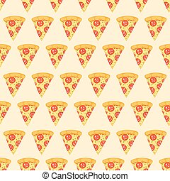 Seamless pattern with a pizza with salami. Vector illustration