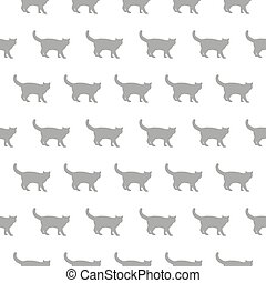 Seamless pattern with a silhouette of a cat on a white background