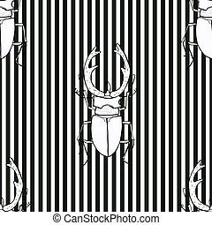 seamless pattern with a stag beetle hand drawn