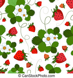 Seamless pattern with a strawberry