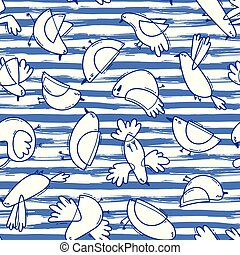 Seamless pattern with abstract birds on striped background. Simple line design. Funny seagulls in the marine style. Vector illustration