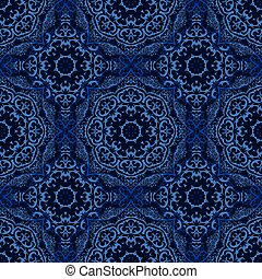 Seamless pattern with abstract blue element on dark background