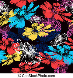 Seamless pattern with abstract colorful flowers and butterflies. Vector illustration.