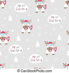 Seamless pattern with abstract cute reindeer