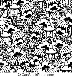Seamless pattern with abstract doodles.