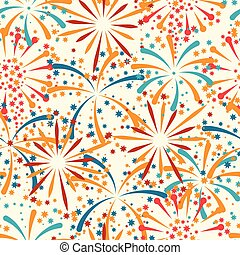 Seamless pattern with abstract fireworks and salute.