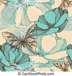 Seamless pattern with abstract flowers and decorative butterflies, hand-drawing.