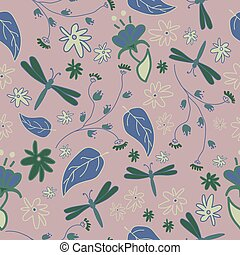Seamless pattern with abstract flowers and dragonflies