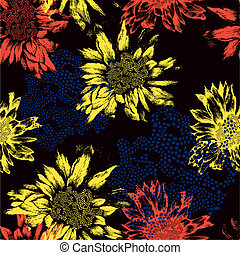 Seamless pattern with abstract flowers on black background. Vector illustration.