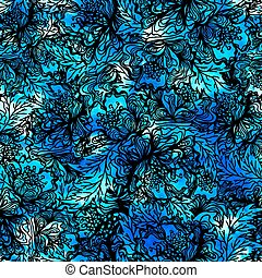 Seamless pattern with abstract flowers. Vector, EPS10