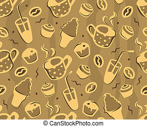 Seamless pattern with abstract food
