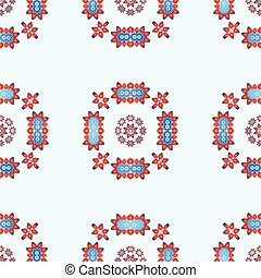 Seamless Pattern with Abstract Lotus Flowers