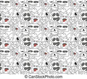 Seamless pattern with abstract monsters