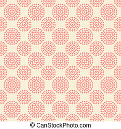 Seamless pattern with abstract pink flowers on white background.