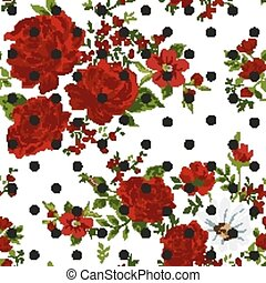 Seamless pattern with abstract red flowers. Vector illustration.