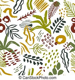 Seamless pattern with abstract tropical leaves, paint stains, brush strokes on white background. Natural vector illustration in contemporary art style for wrapping paper, wallpaper, textile print.