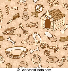 Seamless pattern with accessories for dogs brown - Seamless...