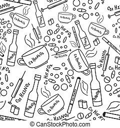 Seamless pattern with addiction and drugs