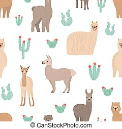 Seamless pattern with adorable llamas hand drawn on white...