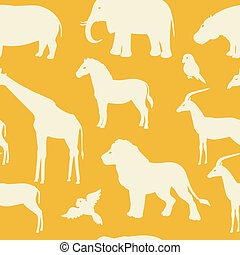 Seamless pattern with african animal silhouettes
