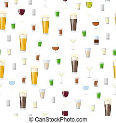 Seamless pattern with Alcoholic drinks glasses