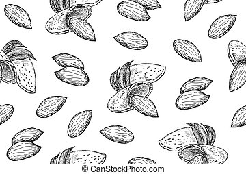 Seamless pattern with almond nuts. Vector illustration background with hand drawn sketch. Food texture for grocery shop. Line art style.