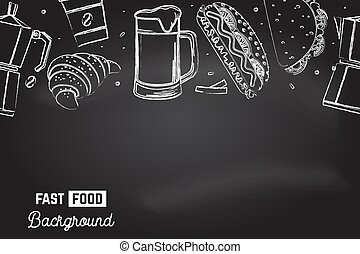 Seamless pattern with american fast food. Fast food background. Vector. Coffee, croissant, hot dog, mexican taco drawing on the chalkboard