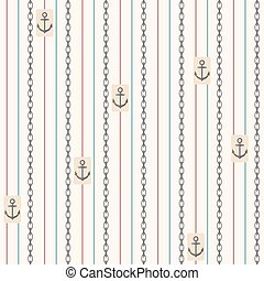 Seamless pattern with anchors. Nautical elements