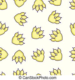 Seamless pattern with animal paw trail isolated on white background. Funny Kids print for textile. Vector illustration.