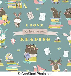 Seamless pattern with animals reading books