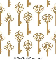 Seamless pattern with antique keys.