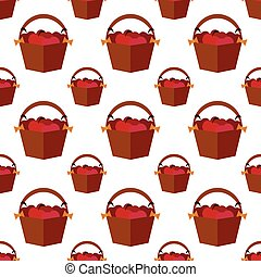 seamless pattern with apple basket on Thanksgiving Day. vector. flat