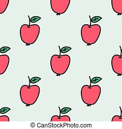 Seamless pattern with apple. Vector illustration. Hand-drawn background.
