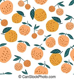 Seamless pattern with apples and leaves. Cute apples background.