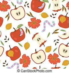 Seamless pattern with apples and worms on a white background. Vector graphics.