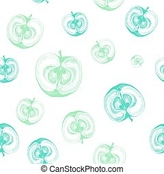 Seamless pattern with apples cut in half.