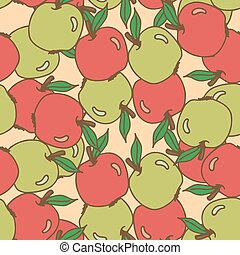 Seamless pattern with apples. Hand drawing vector...