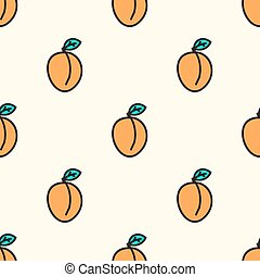 Seamless pattern with apricot. Vector illustration.