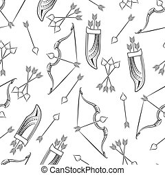 Seamless pattern with arrows and bow