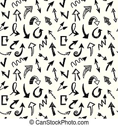 Seamless pattern with arrows, doodles icons set